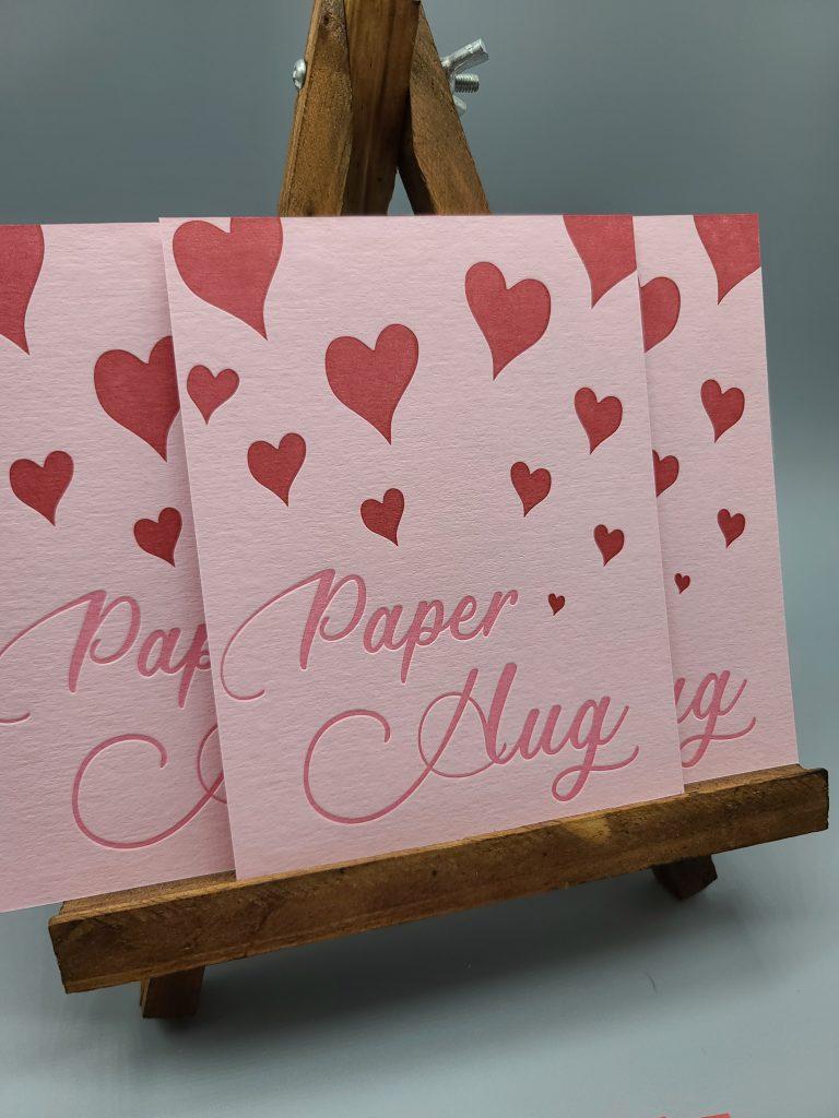 pink paper hug postcards