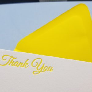 Yellow Letterpress printed A2 folding card