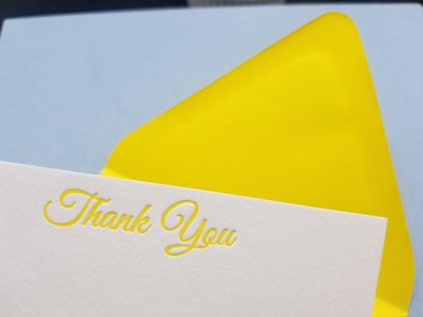 Yellow Letterpress printed A2 folding card
