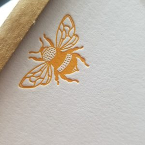 yellow bee notecard set