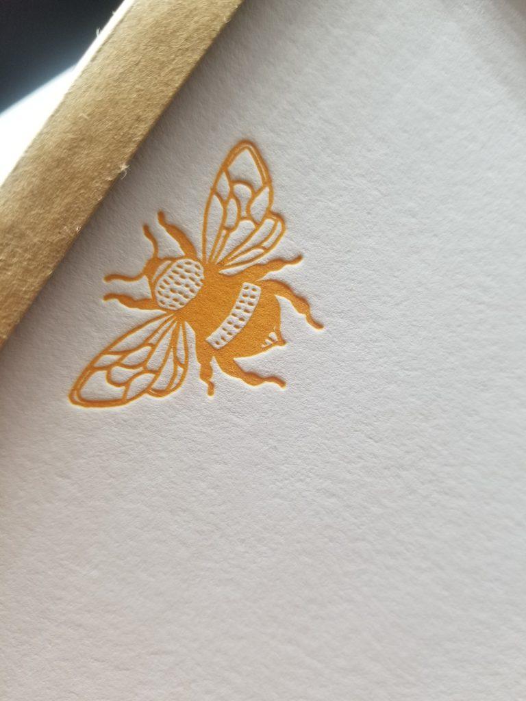 yellow bee notecard set