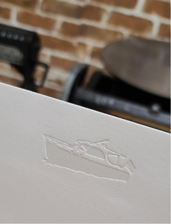 Letterpress printed Light Grey Boat