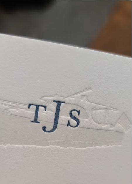 Letterpress printed Light Grey Boat with Navy Blue Monogram