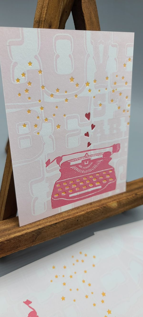 typewriter hearts postcard